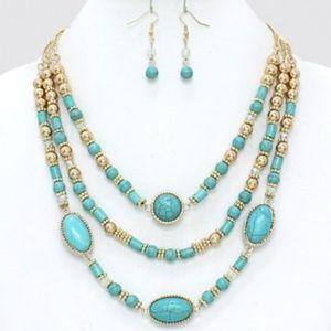 Turquoise Set - Gold tone setting